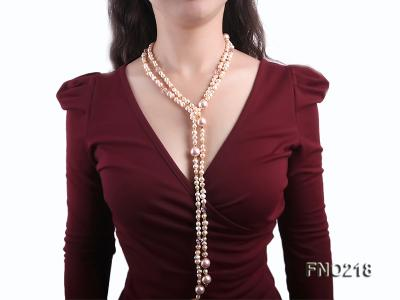 7-8mm natural pink flat freshwater pearl with seashell pearl beads necklace FNO218 Image 6