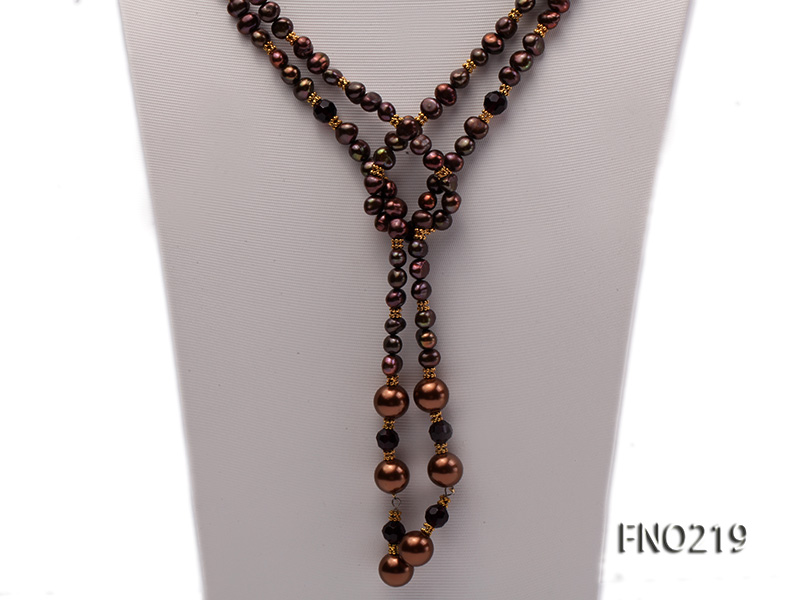7-8mm black flat freshwater pearl with seashell pearl beads necklace big Image 3