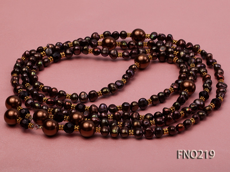7-8mm black flat freshwater pearl with seashell pearl beads necklace big Image 4