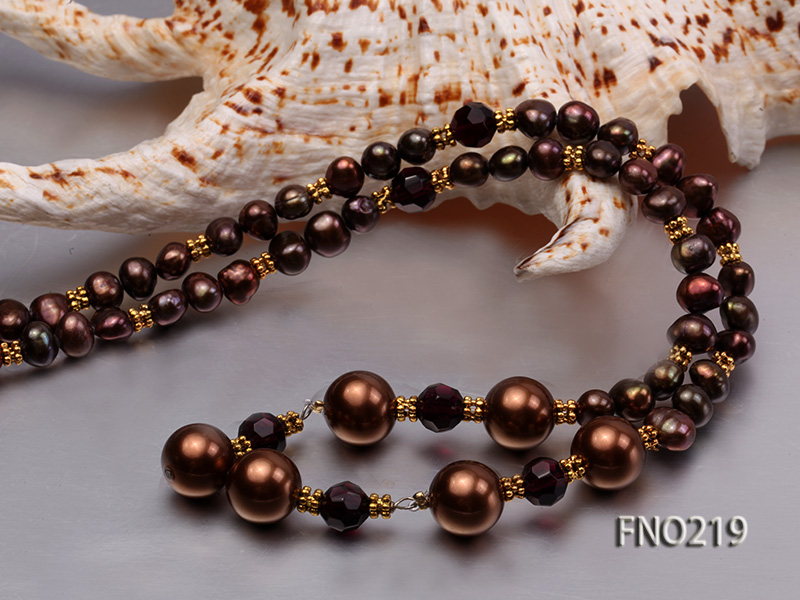 7-8mm black flat freshwater pearl with seashell pearl beads necklace big Image 6