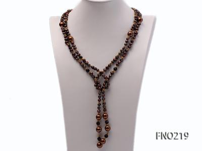 7-8mm black flat freshwater pearl with seashell pearl beads necklace FNO219 Image 2