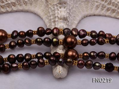 7-8mm black flat freshwater pearl with seashell pearl beads necklace FNO219 Image 5