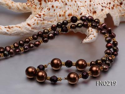 7-8mm black flat freshwater pearl with seashell pearl beads necklace FNO219 Image 6