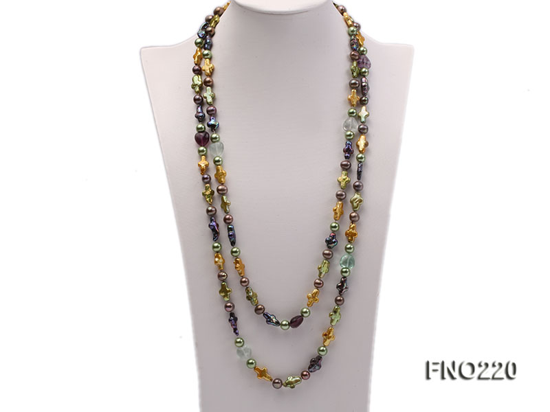 10*15mm multicolor cross freshwater pearl with crystal opera necklace big Image 1