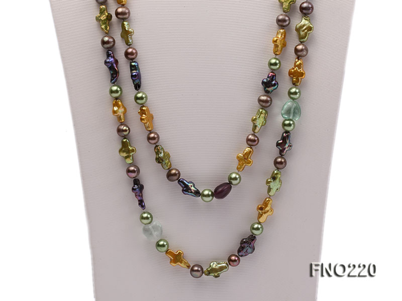10*15mm multicolor cross freshwater pearl with crystal opera necklace big Image 2