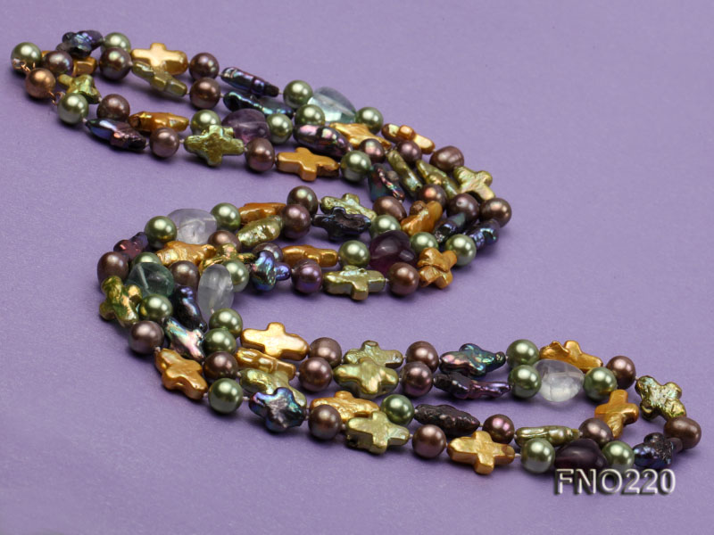10*15mm multicolor cross freshwater pearl with crystal opera necklace big Image 4