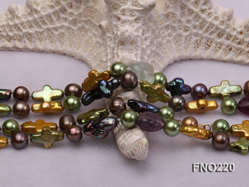 10*15mm multicolor cross freshwater pearl with crystal opera necklace big Image 5