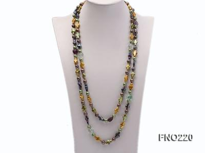 10*15mm multicolor cross freshwater pearl with crystal opera necklace FNO220 Image 1