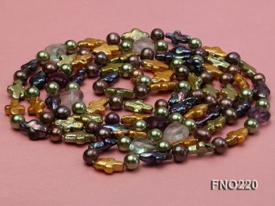 10*15mm multicolor cross freshwater pearl with crystal opera necklace FNO220 Image 3