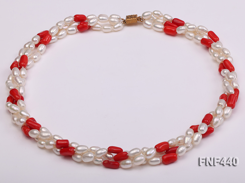 Three-strand 6x8mm White Freshwater Pearl and Red Coral Beads Necklace big Image 1