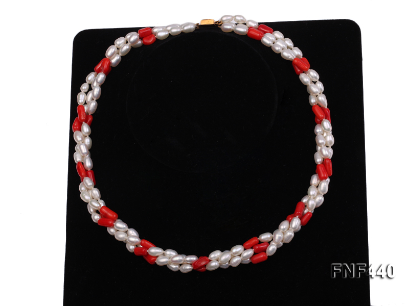 Three-strand 6x8mm White Freshwater Pearl and Red Coral Beads Necklace big Image 3