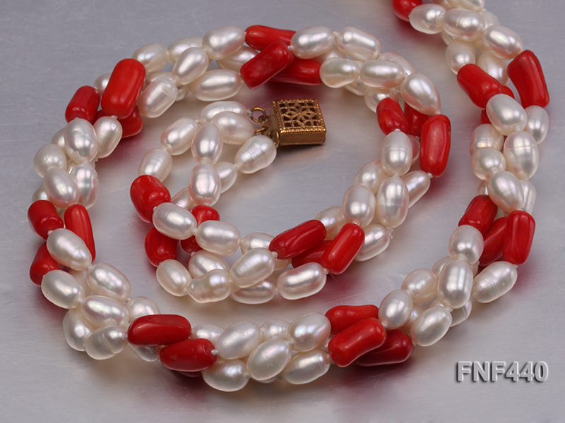 Three-strand 6x8mm White Freshwater Pearl and Red Coral Beads Necklace big Image 4