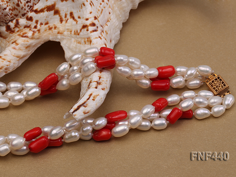 Three-strand 6x8mm White Freshwater Pearl and Red Coral Beads Necklace big Image 5