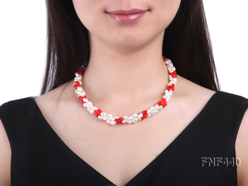Three-strand 6x8mm White Freshwater Pearl and Red Coral Beads Necklace big Image 2
