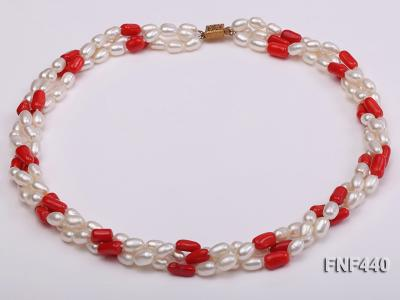 Three-strand 6x8mm White Freshwater Pearl and Red Coral Beads Necklace FNF440 Image 1