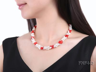 Three-strand 6x8mm White Freshwater Pearl and Red Coral Beads Necklace FNF440 Image 6