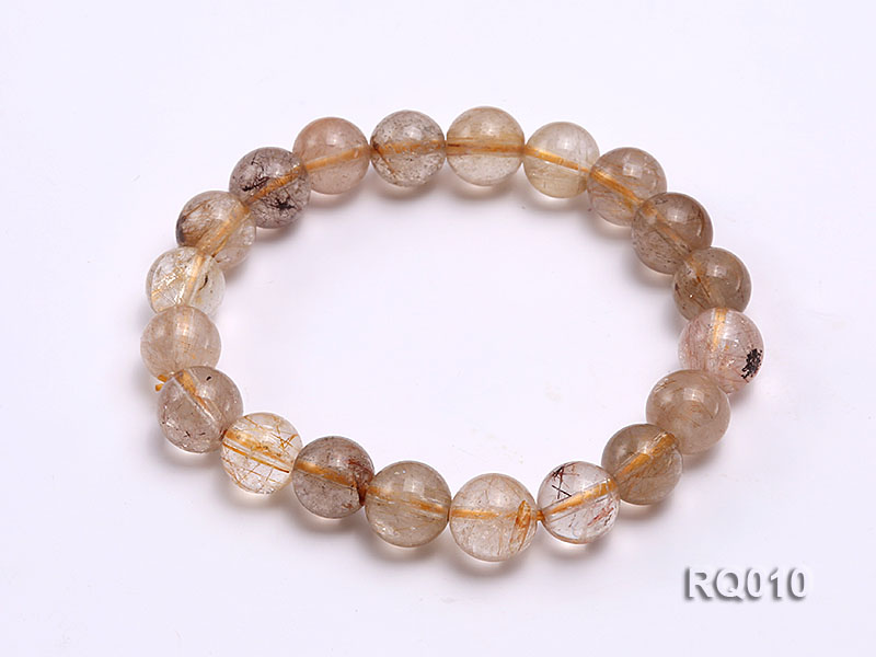 10mm Rutilated Quartz Beads Elastic Bracelet big Image 5