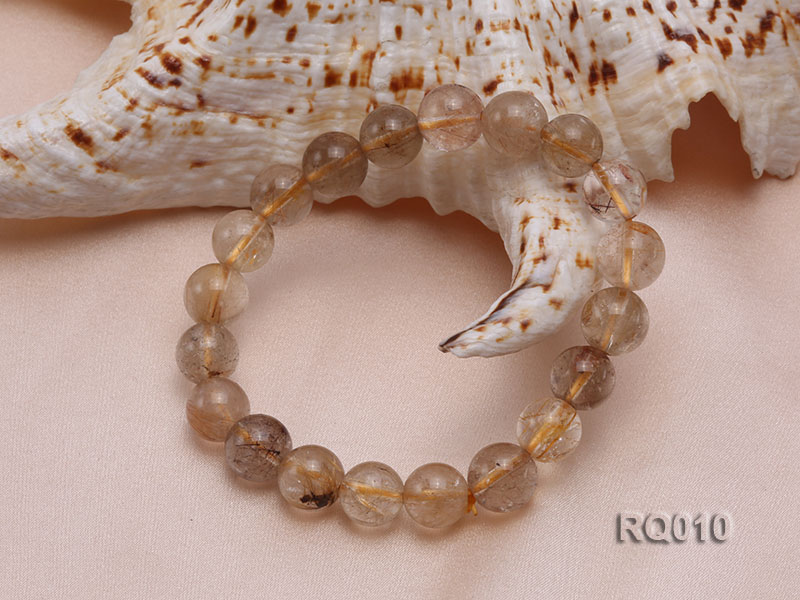 10mm Rutilated Quartz Beads Elastic Bracelet big Image 3