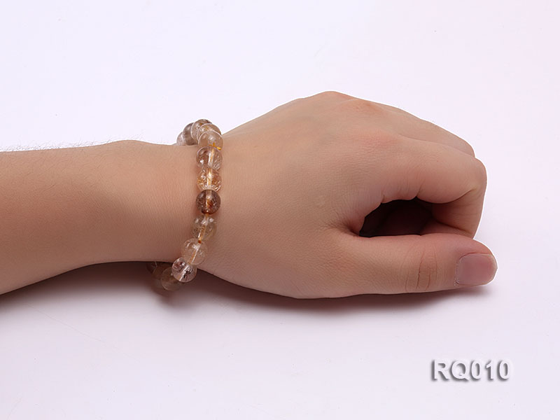 10mm Rutilated Quartz Beads Elastic Bracelet big Image 4
