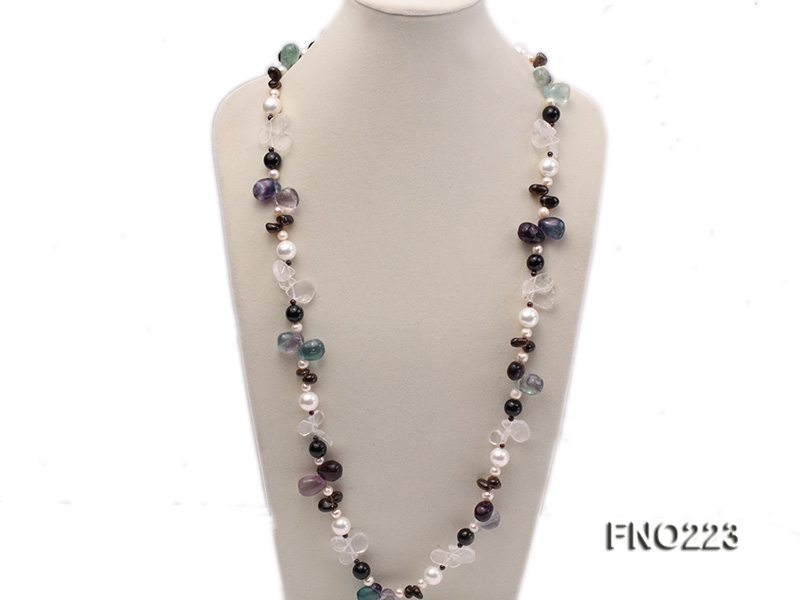 8-9mm natual white freshwater pearl with natural fluorite and smoky quartz necklace big Image 2