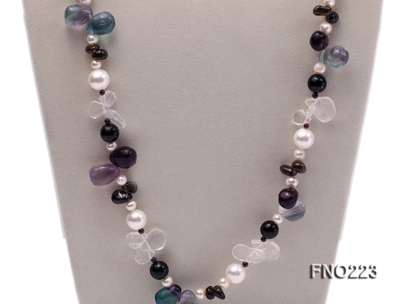 8-9mm natual white freshwater pearl with natural fluorite and smoky quartz necklace big Image 3
