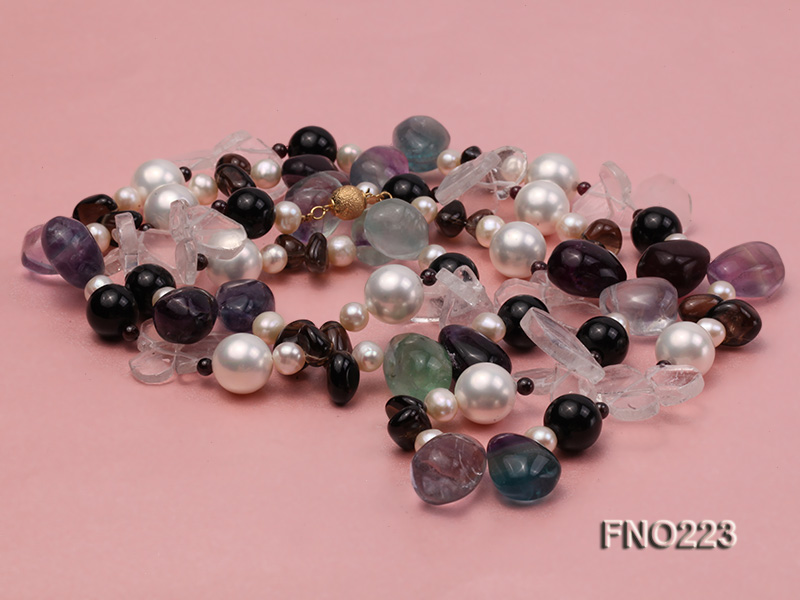 8-9mm natual white freshwater pearl with natural fluorite and smoky quartz necklace big Image 4
