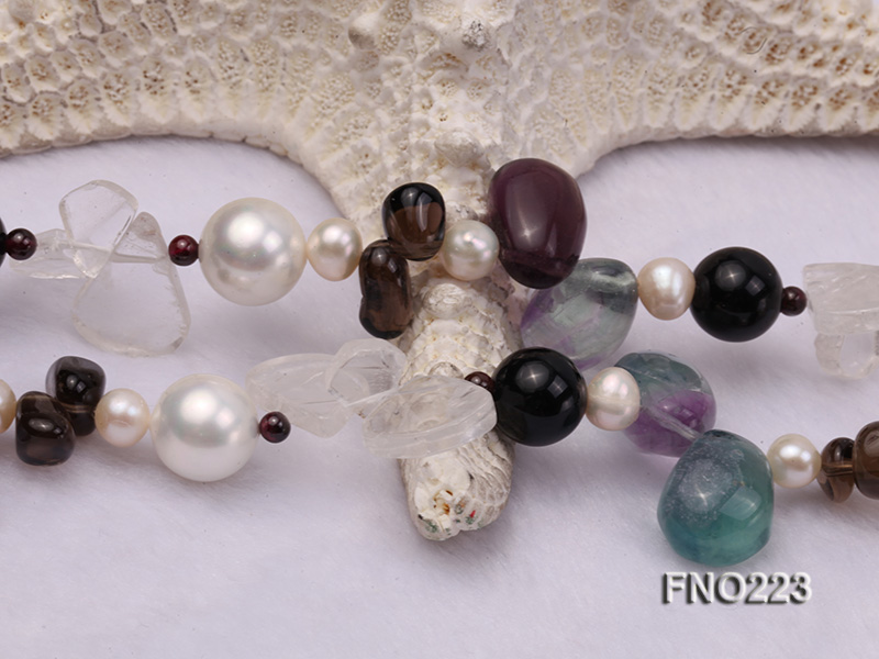 8-9mm natual white freshwater pearl with natural fluorite and smoky quartz necklace big Image 5