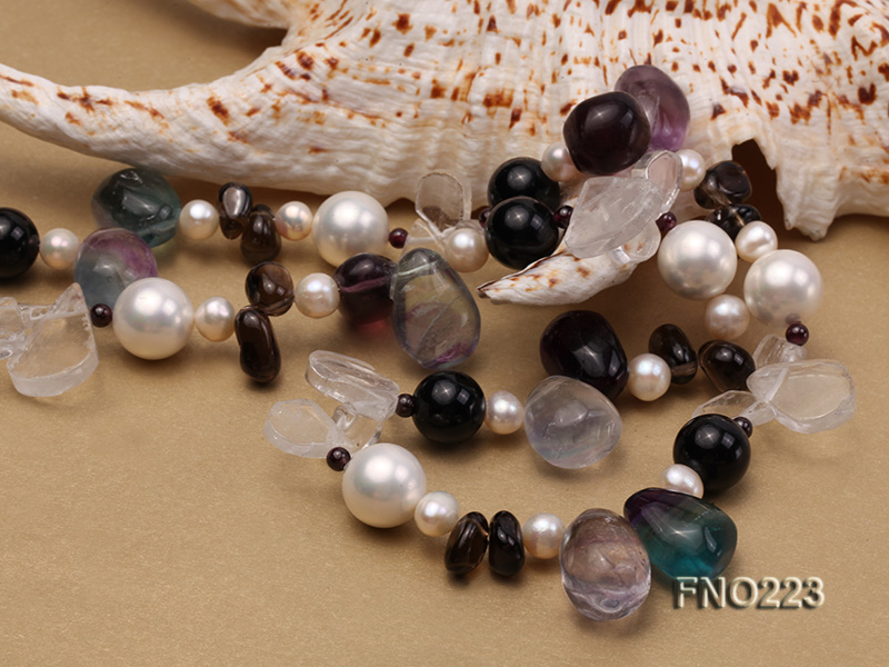 8-9mm natual white freshwater pearl with natural fluorite and smoky quartz necklace big Image 6