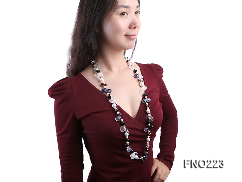 8-9mm natual white freshwater pearl with natural fluorite and smoky quartz necklace big Image 8