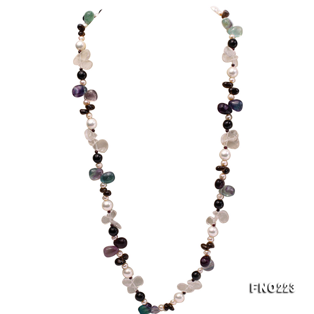 8-9mm natual white freshwater pearl with natural fluorite and smoky quartz necklace big Image 1