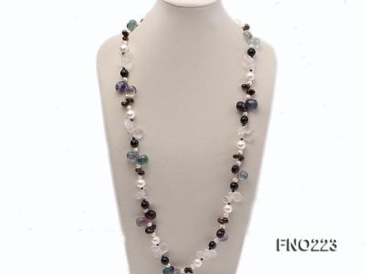 8-9mm natual white freshwater pearl with natural fluorite and smoky quartz necklace FNO223 Image 2
