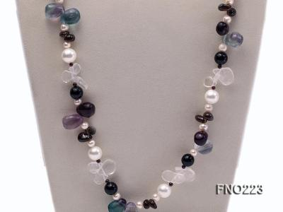 8-9mm natual white freshwater pearl with natural fluorite and smoky quartz necklace FNO223 Image 3