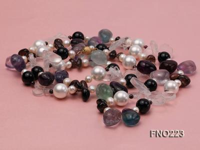 8-9mm natual white freshwater pearl with natural fluorite and smoky quartz necklace FNO223 Image 4