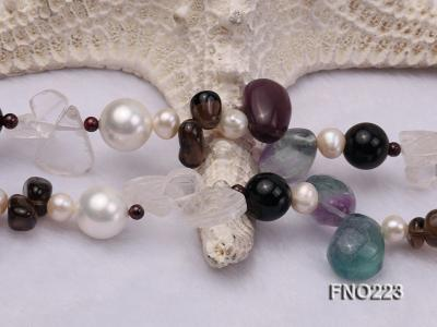 8-9mm natual white freshwater pearl with natural fluorite and smoky quartz necklace FNO223 Image 5