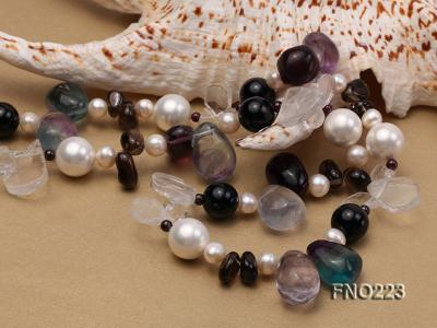 8-9mm natual white freshwater pearl with natural fluorite and smoky quartz necklace FNO223 Image 6