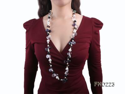 8-9mm natual white freshwater pearl with natural fluorite and smoky quartz necklace FNO223 Image 7