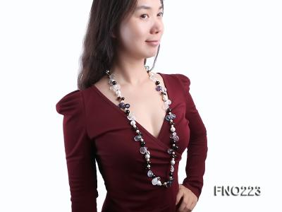 8-9mm natual white freshwater pearl with natural fluorite and smoky quartz necklace FNO223 Image 8
