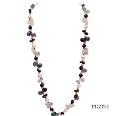 8-9mm natual white freshwater pearl with natural fluorite and smoky quartz necklace FNO223 Image 1
