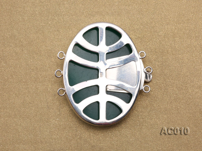 30x40mm Three-row Silver-Edged Green Resin Cameo Clasp  big Image 2