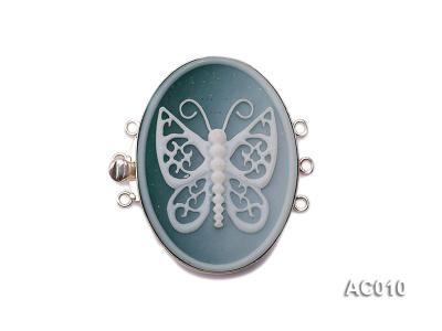 30x40mm Three-row Silver-Edged Green Resin Cameo Clasp  AC010 Image 1
