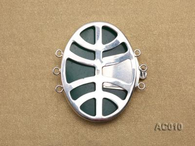 30x40mm Three-row Silver-Edged Green Resin Cameo Clasp  AC010 Image 2