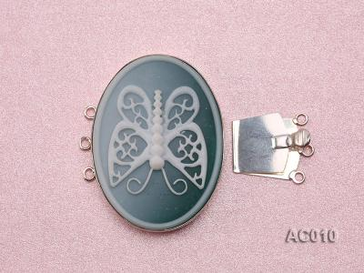 30x40mm Three-row Silver-Edged Green Resin Cameo Clasp  AC010 Image 3
