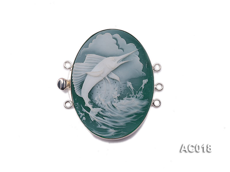 30x40mm Three-row Silver-Edged Green Resin Cameo Clasp big Image 1