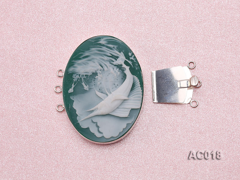 30x40mm Three-row Silver-Edged Green Resin Cameo Clasp big Image 3