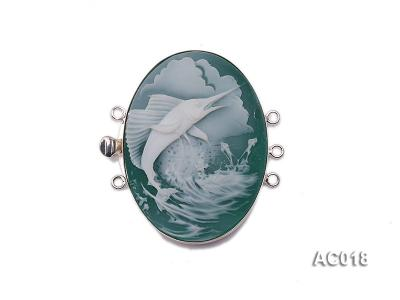 30x40mm Three-row Silver-Edged Green Resin Cameo Clasp AC018 Image 1