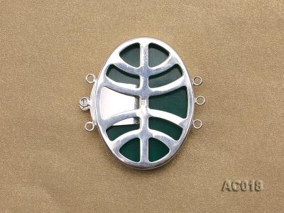 30x40mm Three-row Silver-Edged Green Resin Cameo Clasp AC018 Image 2