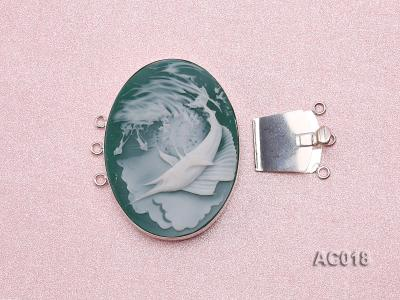 30x40mm Three-row Silver-Edged Green Resin Cameo Clasp AC018 Image 3