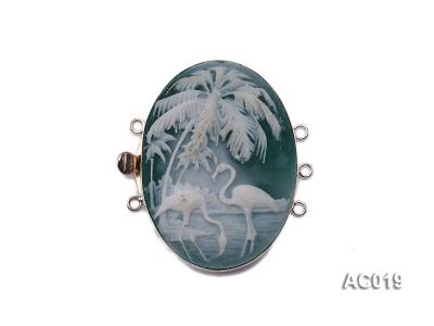 30x40mm Three-row Silver-Edged Green Resin Cameo Clasp AC019 Image 1