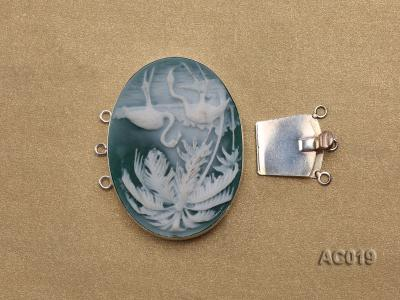 30x40mm Three-row Silver-Edged Green Resin Cameo Clasp AC019 Image 3