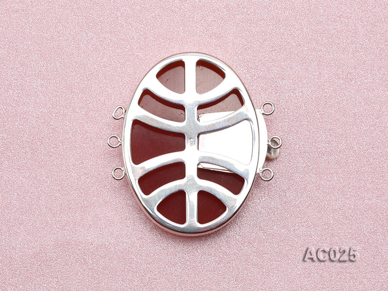30x40mm Three-row Silver-Edged Red Resin Cameo Clasp big Image 2